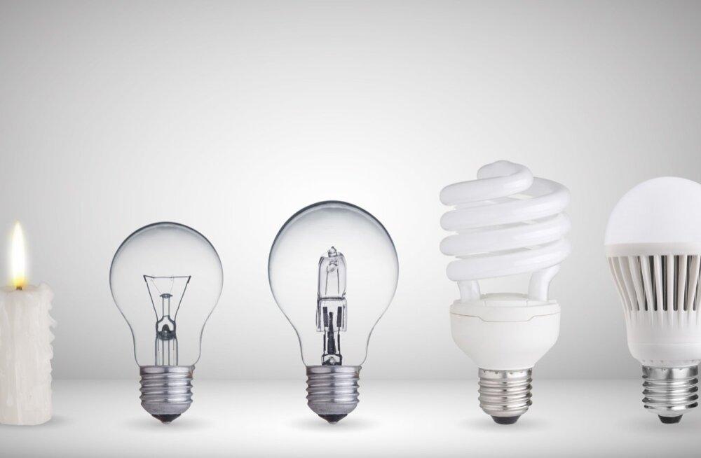 2f9ac3796a0 Evolutsioon valgustite maailmas: küünal, hõõglamp, fluorestsentslamp,  halogeen- ja leedlamp.