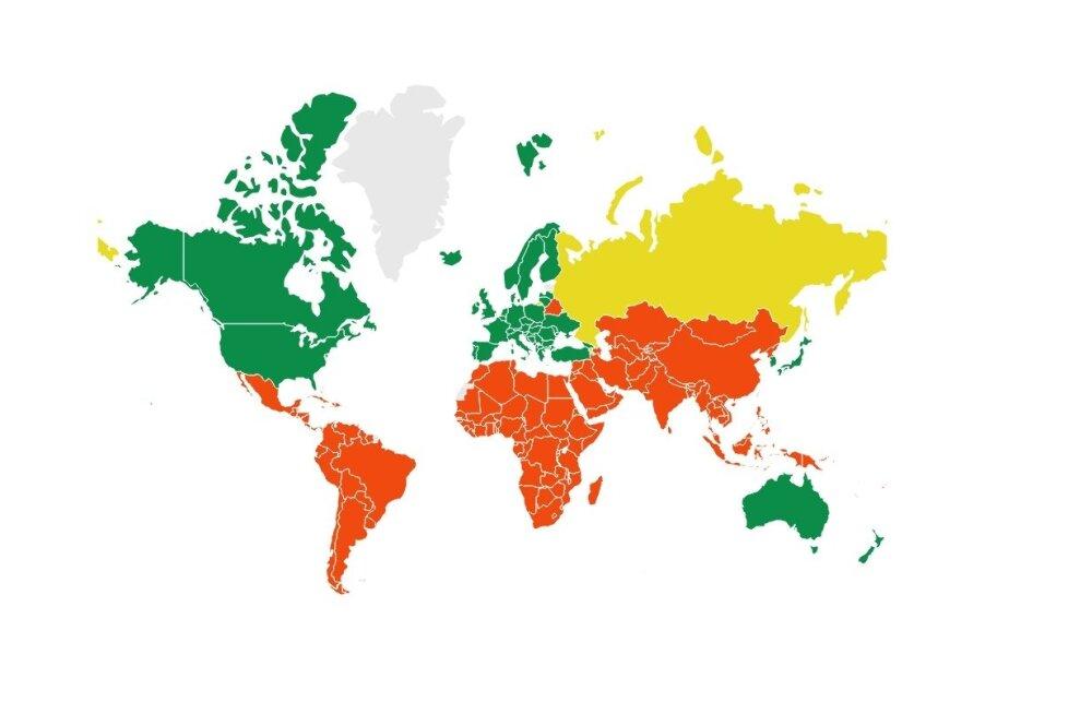 Rohelisega on märgitud riigid, kelle jaoks Eesti on kolmekümne kõige sarnasemalt hääletava riigi hulgas ÜROs. Punasega on märgitud riigid, kelle jaoks Eesti on kolmekümne kõige erinevamalt hääletava riigi hulgas ÜROs.