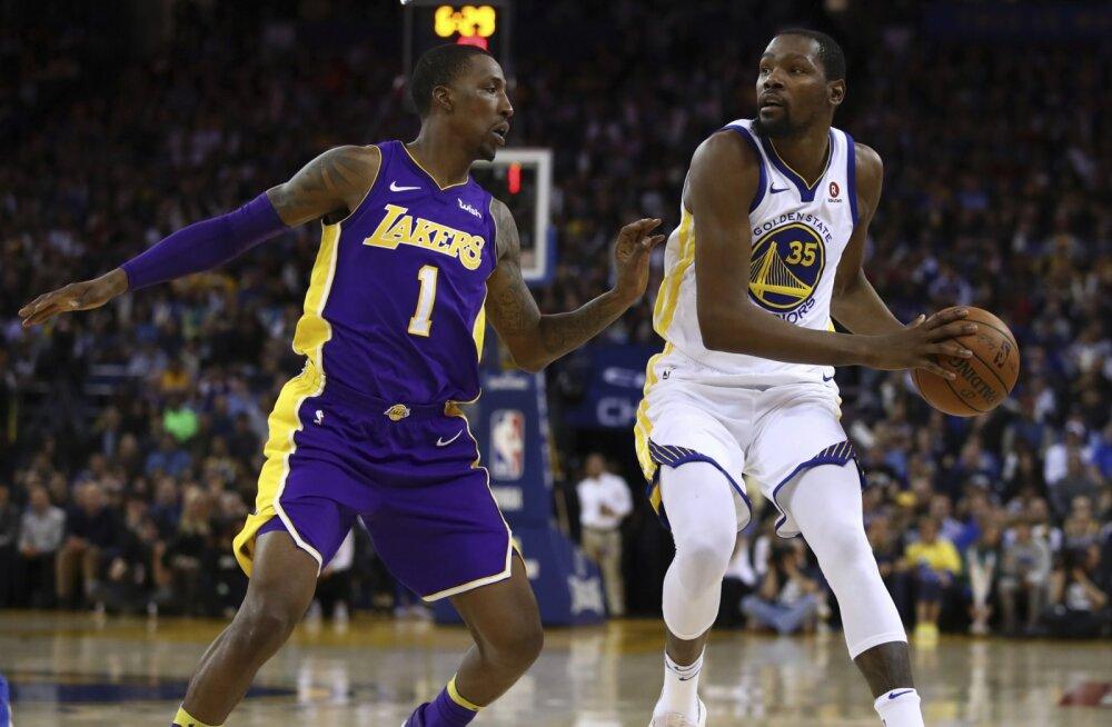 VIDEO   Põhimeestest vaid Duranti kasutanud Warriors suutis Lakersi alistada
