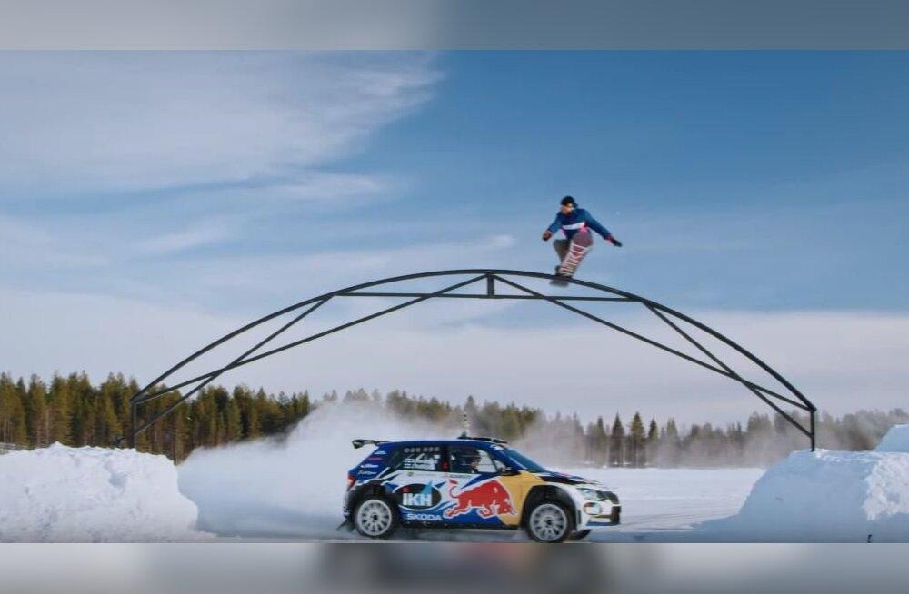 VIDEO | Soome ralliäss ja lumelauasõitja ühendasid jõud. Kas Ott Tänak ja Kelly Sildaru näitaksid soomlastele, kuidas asi tegelikult käib?