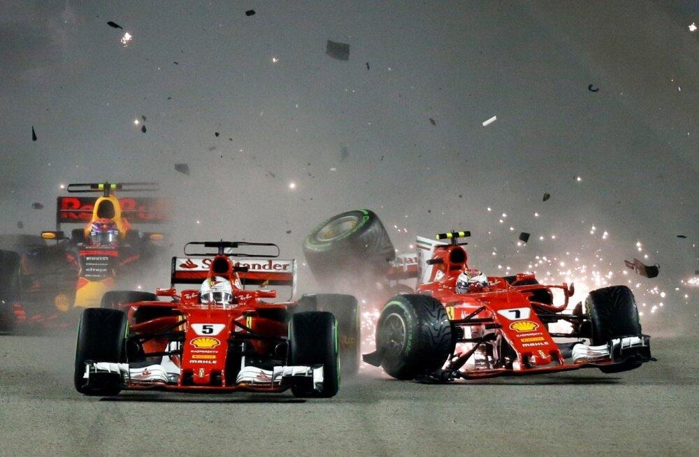 Ferrarid teevad avarii ja annavad sellega Mercedese sõitjale Lewis Hamiltonile suure võimaluse.