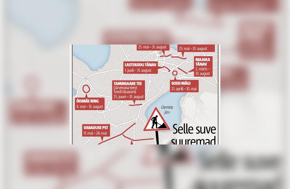 GRAAFIK: Esmaspäevast lähevad teetööd lahti: Narva maantee suletakse sisuliselt täielikult, Viru bussiterminal läheb pärast jaanipäeva remonti
