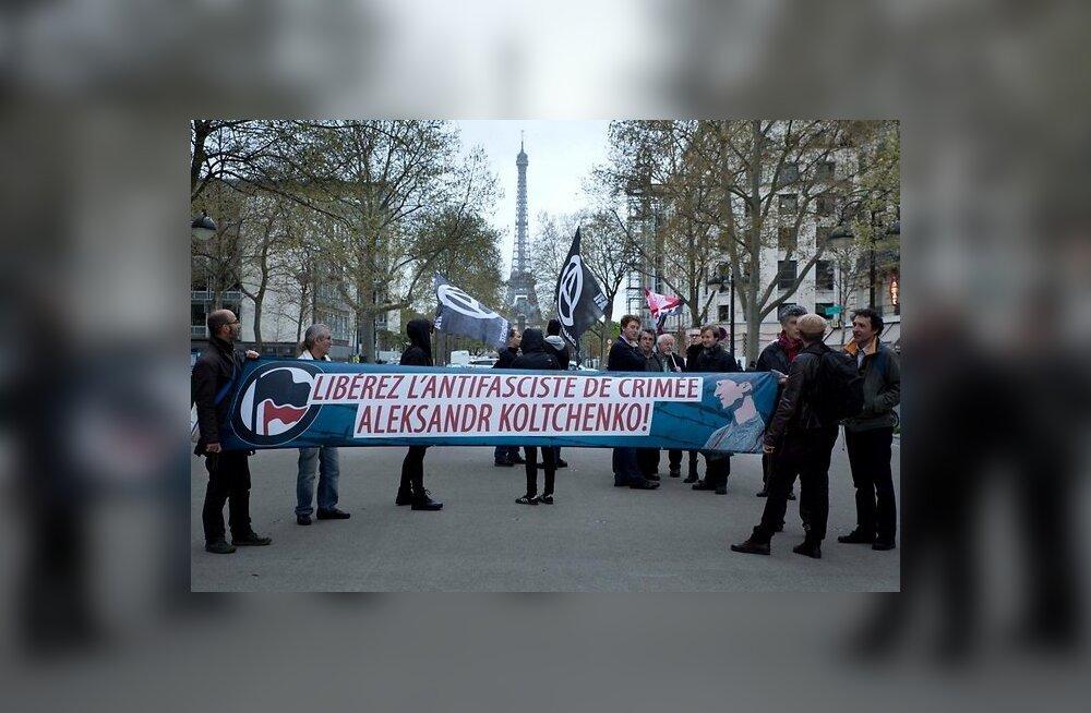 Фото: Из архива Александра Кольченко в соцсетях. Акция в его поддержку в Париже 30 апреля 2014 года