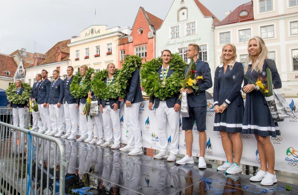 Olümpiasangarite vastuvõtt Raekoja platsil