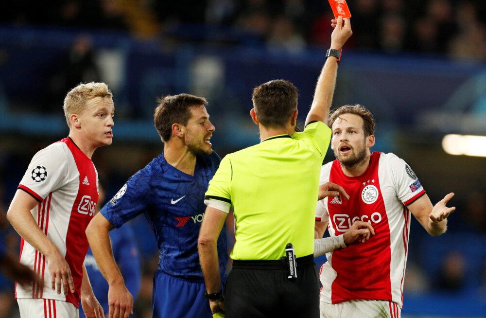 Milline mäng! Ajax sai ühest olukorrast kaks punast ja Chelsea tuli välja 1:4 kaotusseisust