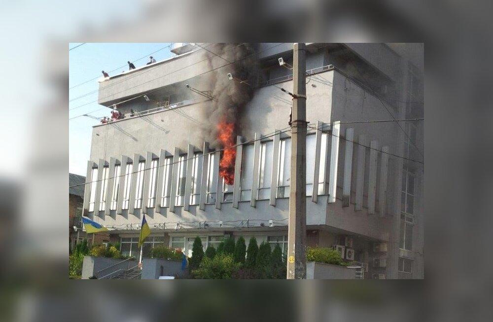 Kiievis süüdati venemeelse telejaama peakorter