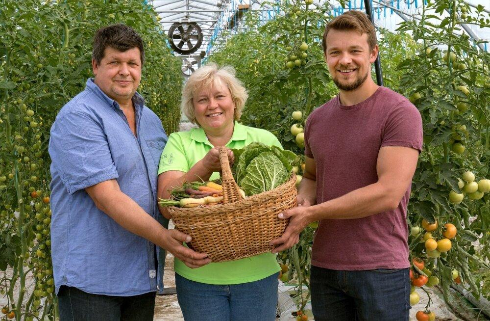 Pererahvas rõõmustab, et Rautsi talu köögiviljal on nii hea minek. Pildil on Aarne Põri koos abikaasa Jana ja poeg Taaviga.