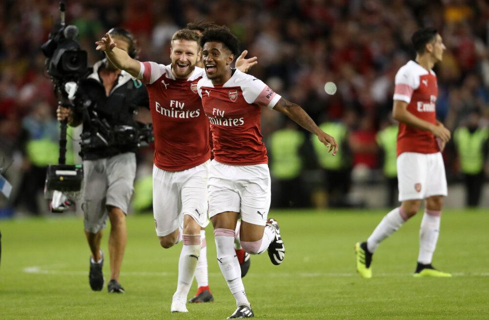 VIDEO | Londoni tippklubid pidasid Dublinis põneva sõprusmängu: Arsenal skooris 17 sekundit enne mängu lõppu ning võitis Chelsea vastu penaltiseeria