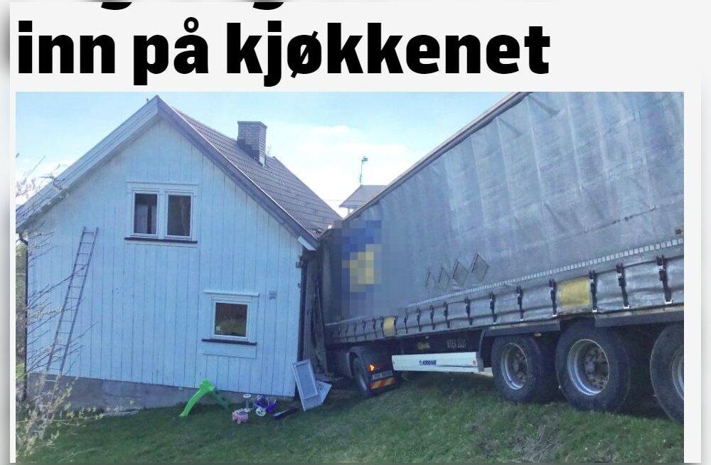 Грузовик с эстонскими номерами протаранил в Норвегии жилой дом