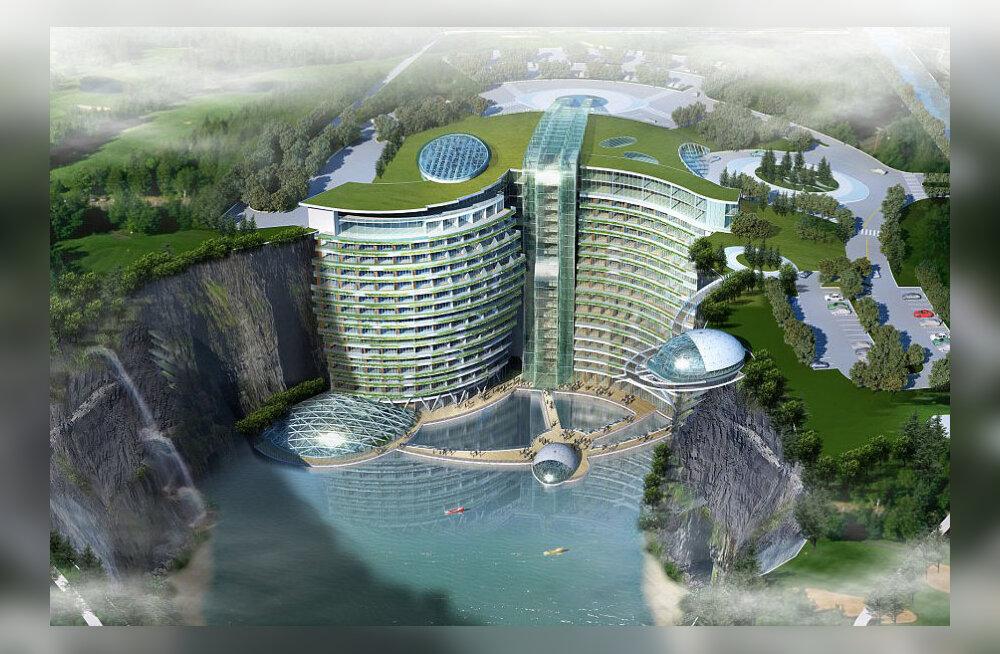 """Hiinas ehitatakse maailma """"sügavaimat"""" 19-korruselist hotelli"""