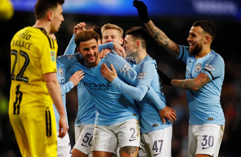 VIDEO | Manchester City lõi karikasarja poolfinaalis vastasele üheksa väravat, ees ootab veel ka kordusmatš
