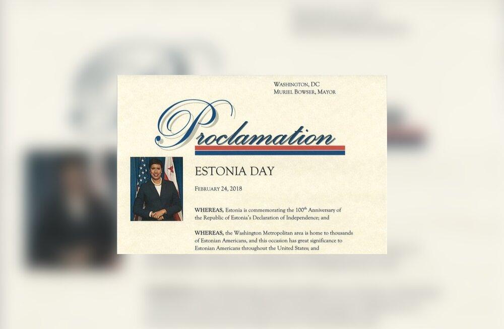 """Washingtoni linnapea kuulutas homse päeva """"Eesti päevaks"""""""