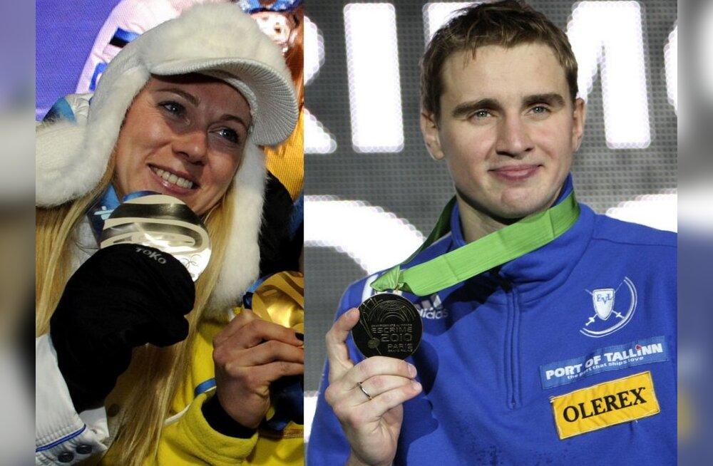 Kristina Šmigun-Vähi ja Nikolai Novosjolov