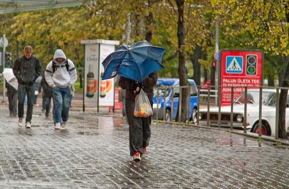 Homne ilm toob kaasa vihma ja tuule.