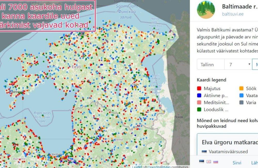 Reisimine Eestis, Lätis ja Leedus muutus just põnevamaks: valminud on 7000 asukohaga Baltimaade reisiplaneerija