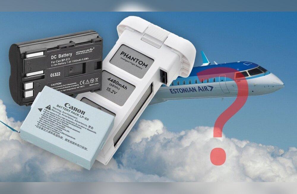Millised piirangud kehtivad lennureisile kaasavõetavatele akudele?