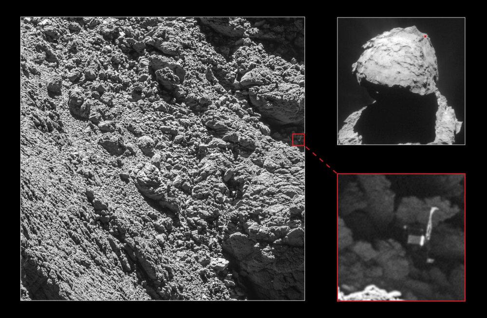 Komeedile laskunud Philae maandur leiti viimasel hetkel üles