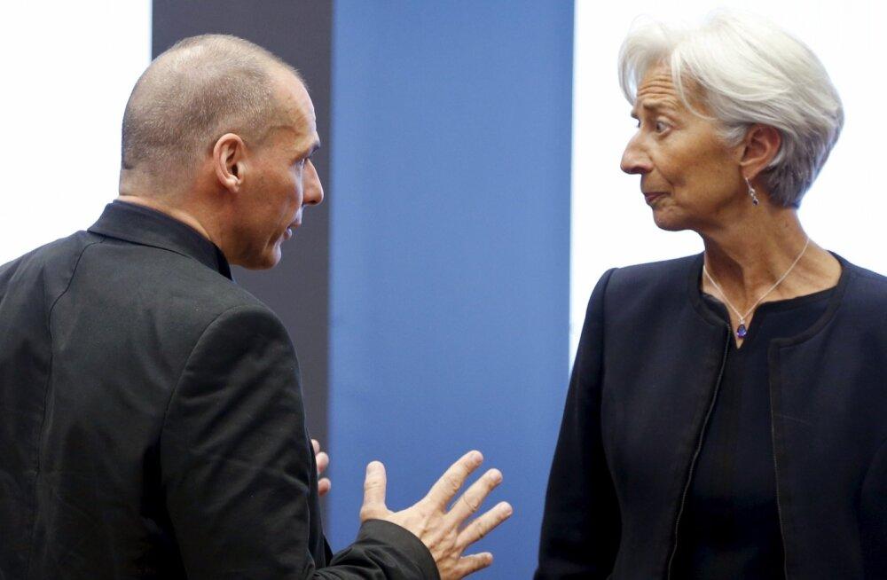 IMFi juht Christine Lagarde ning Yanis Varoufakis.