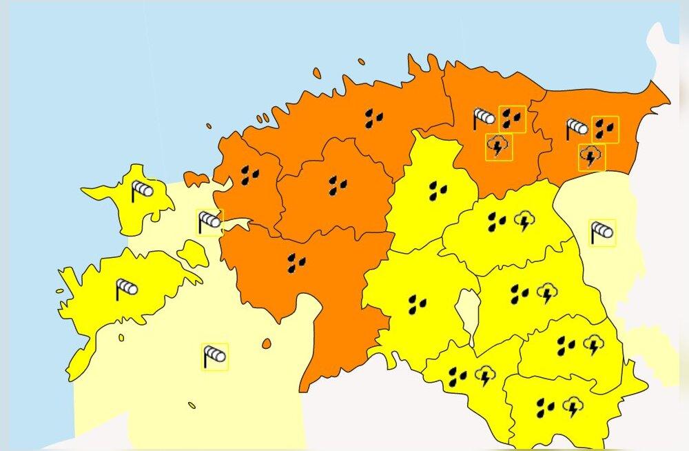TORMIHOIATUS | Poolt riiki vallutab ohtlik ilm