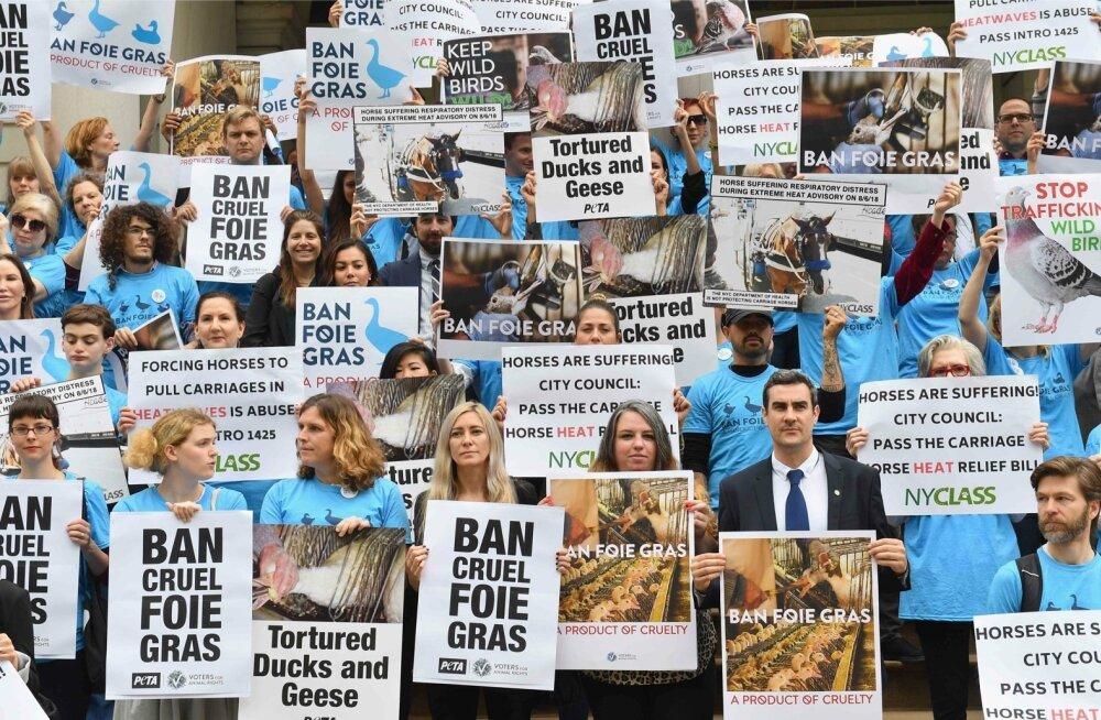 Aktivistid foie gras' keelustamist toetamas.