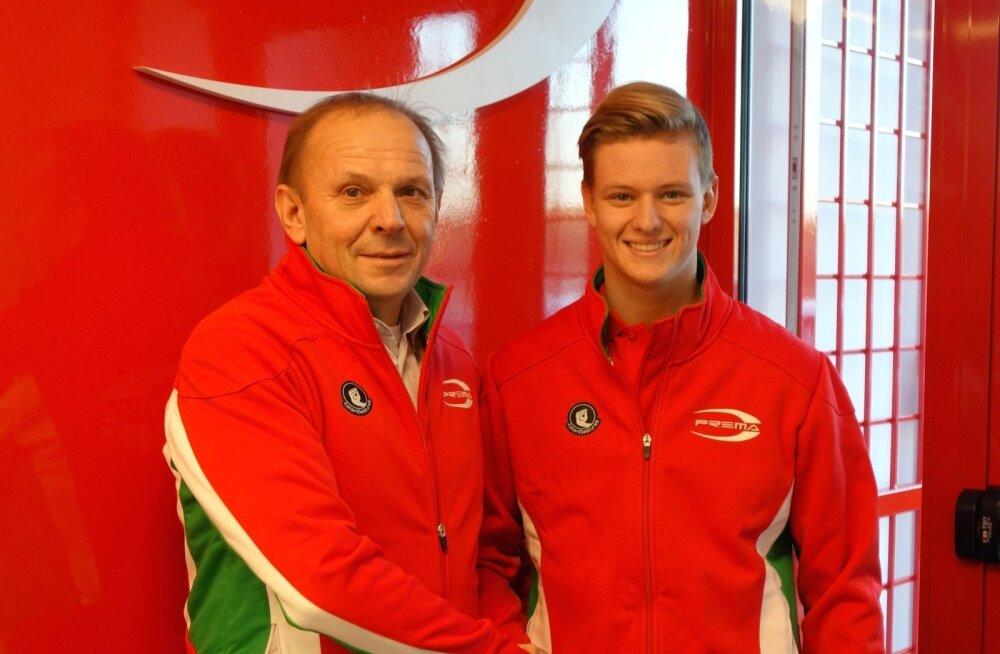 Mick Schumacher ja Prema Powerteami juht Angelo Rosin