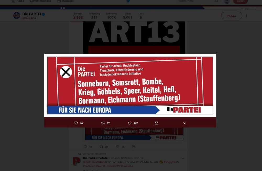 Saksa naljapartei kandidaadid eurovalimistel on Göbbels, Göring, Speer, Bormann ja Eichmann