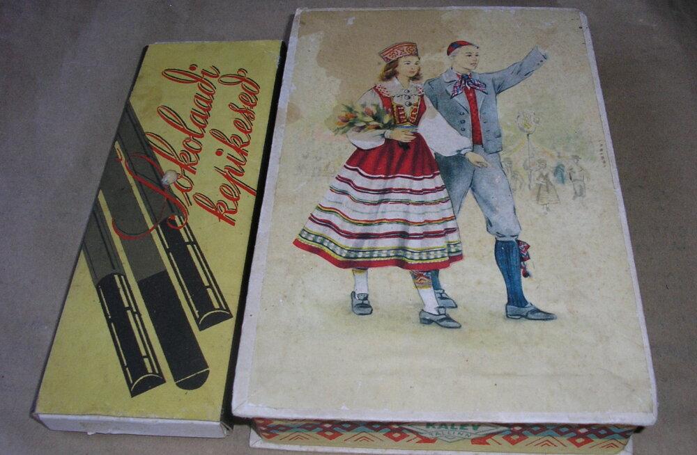 Meeli Mülleri poolt mälestusena alles hoitud šokolaadikommikarp 1969. aastast ja marmelaadikarp 1965. aastast - ostetud üldlaulupidude ajal Tallinnas