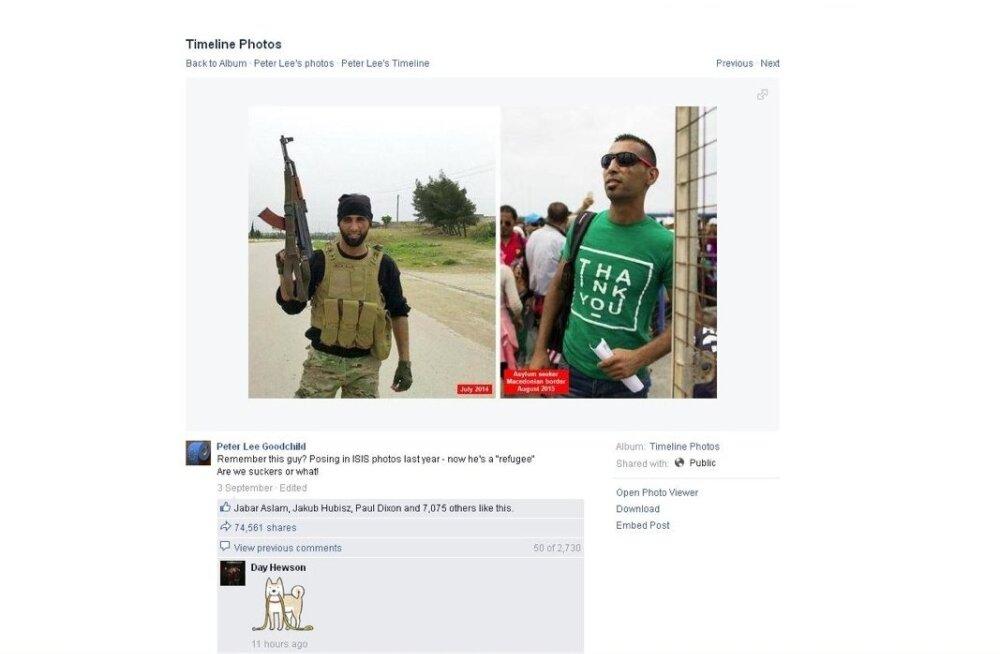 Internetis massiliselt levinud pildil väidetakse olevat pagulasena esinev Islamiriigi võitleja, kuid see ei vasta tõele