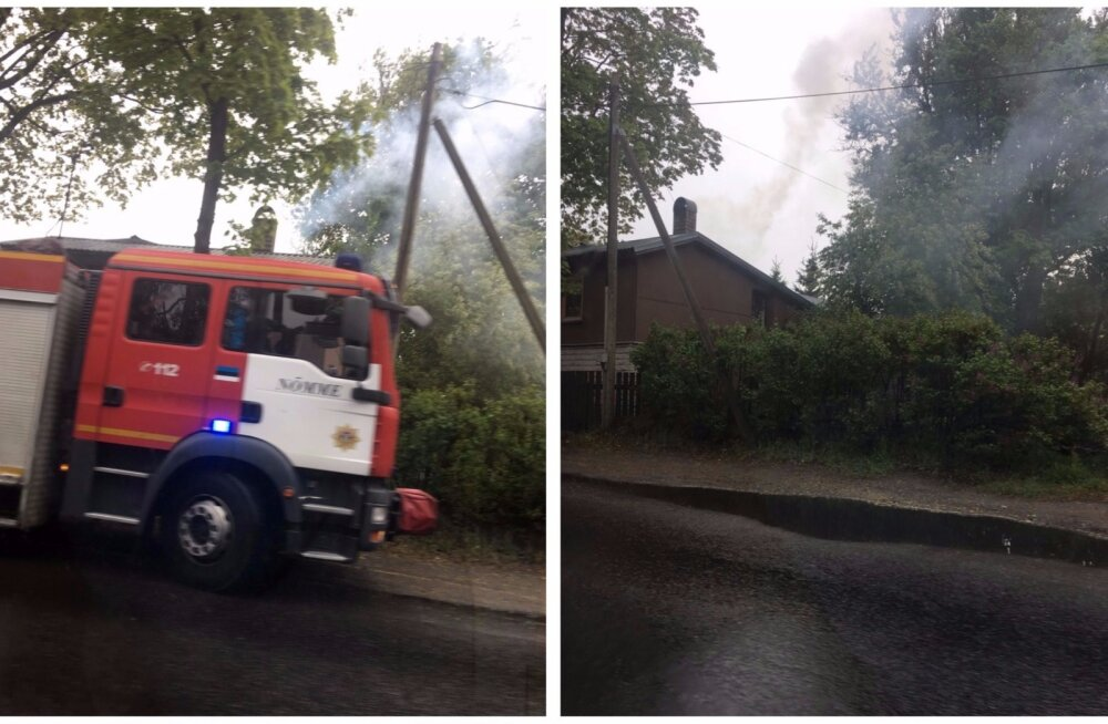 FOTOD: Nõmmel tuli elumaja katuse alt paksu tossu