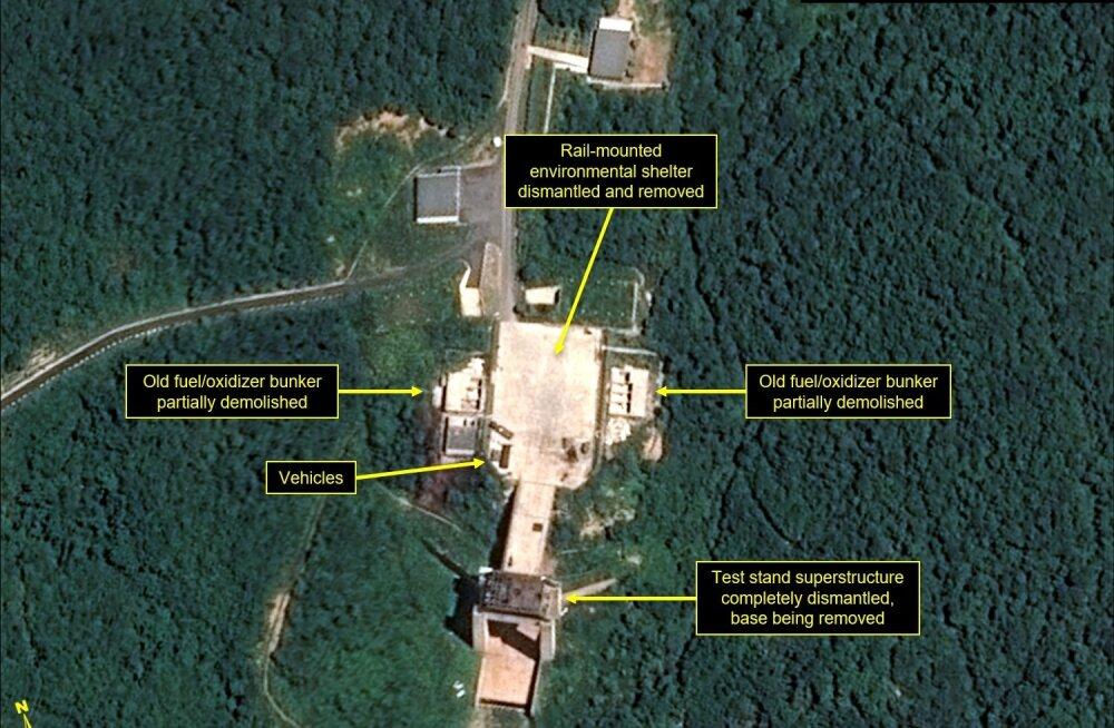 Põhja-Korea näib olevat alustanud rakettide stardipaiga demonteerimist