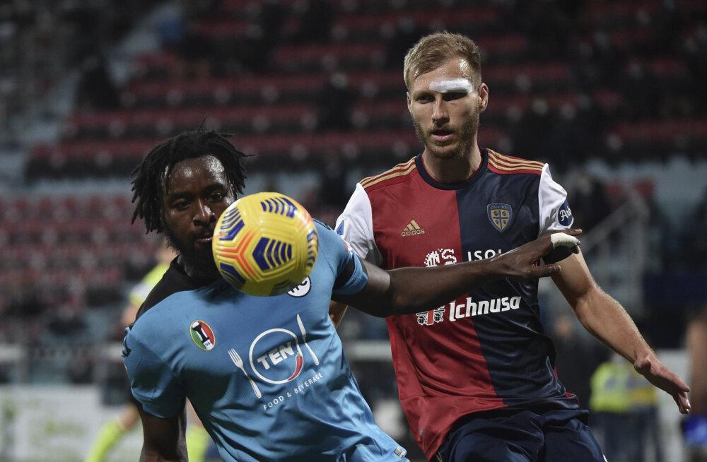 Klavan põhjustas lõpus penalti, Cagliari jäi võidust ilma