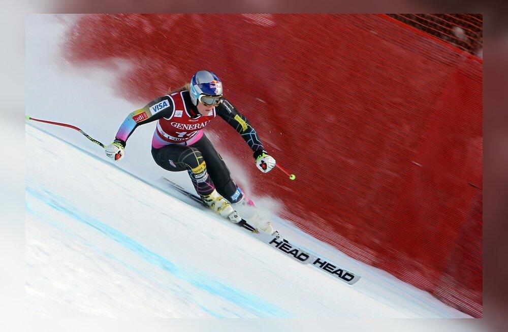 Lindsey Vonn kihutas mäest alla kiiremini kui mehed
