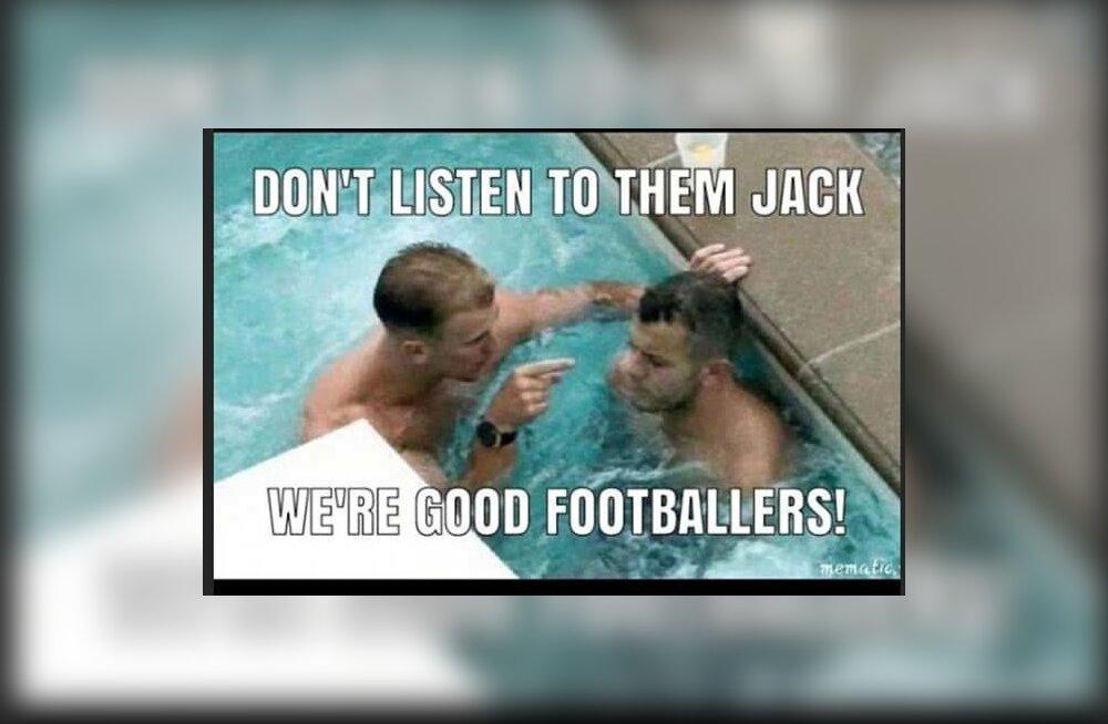 Joe Hart ja Jack Wilshere nalja keskmes.