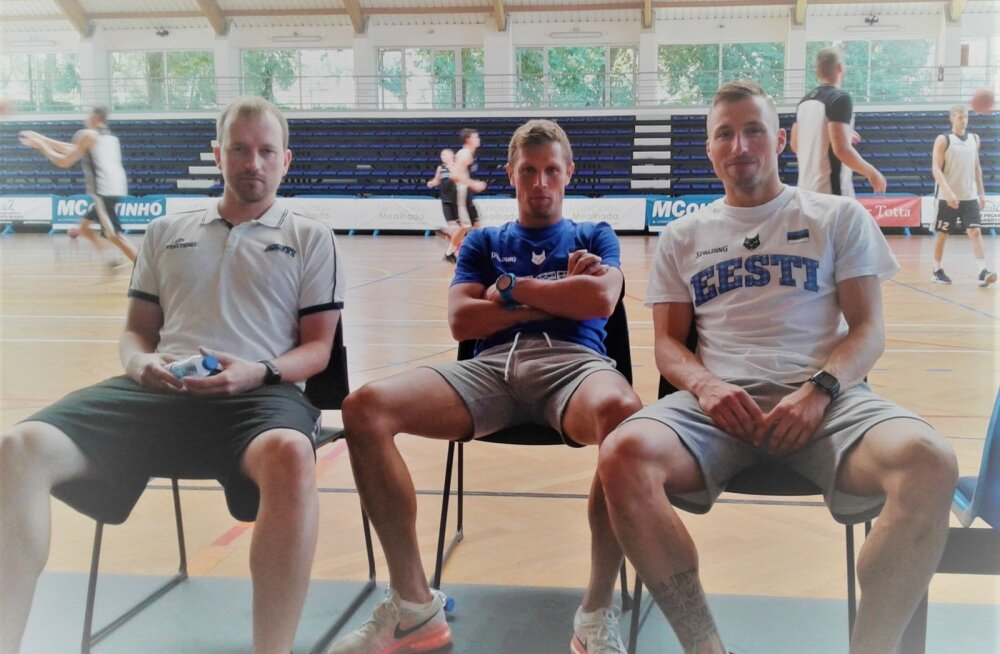 Eesti korvpallikoondise abijõud meeskonna treeningul