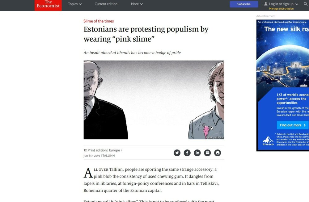 """The Economist: eestlased protestivad populismi vastu, kandes """"roosat ila"""""""