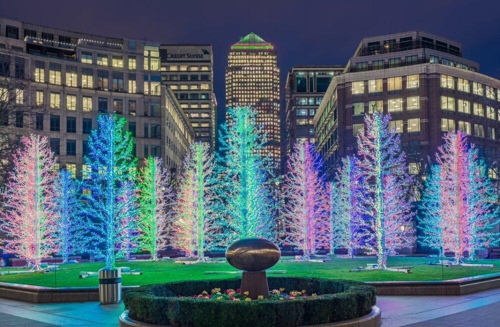 Adam BDs toodetud jõulumets Londonis Canary Wharfis