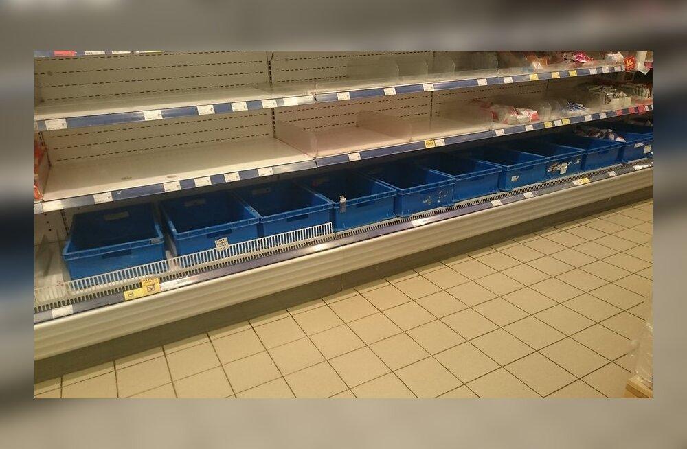 ФОТО: На полках для молочных продуктов в Maxima шаром покати