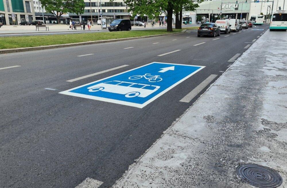 ФОТО   Таллинн разрешает велосипедистам использовать полосу общественного транспорта
