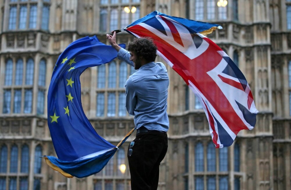 Brexiti-vastane meeleavaldaja Briti parlamendihoone ees
