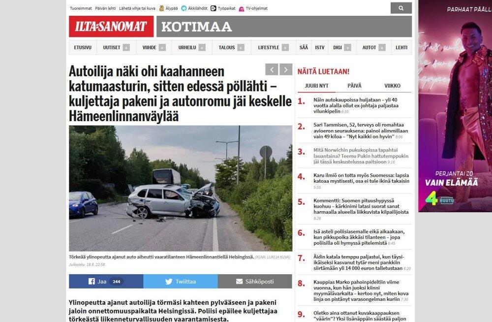 Hullumeelselt kihutanud Eesti numbritega maastur niitis Helsingis maha bussipeatuse, autos olnud põgenesid
