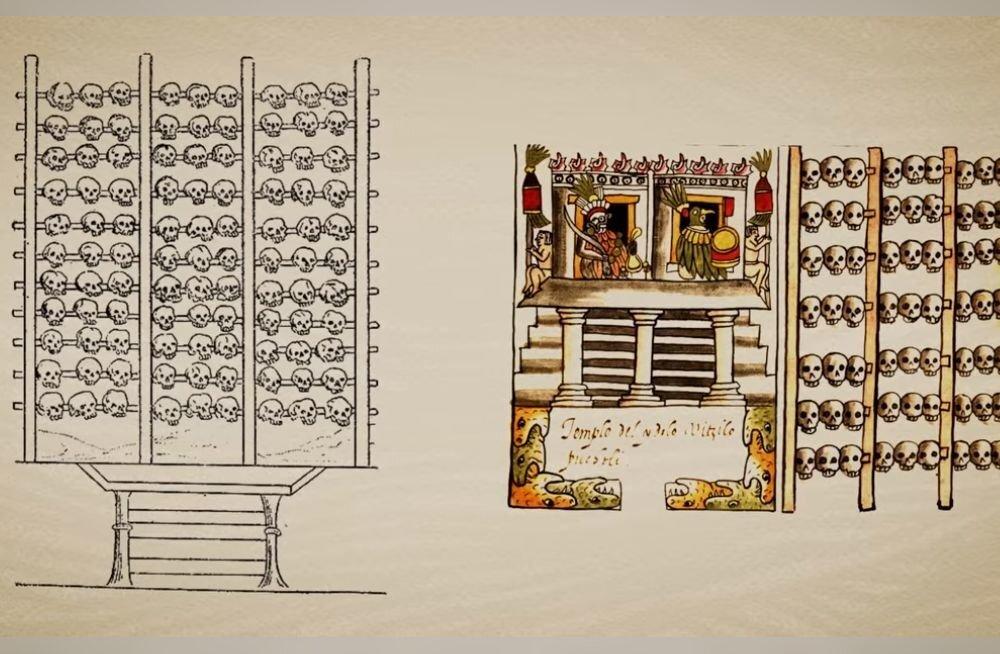 Kolpadest torn ja sõrestik viitavad asteekide inimohverdamise kombele muistses Mehhikos