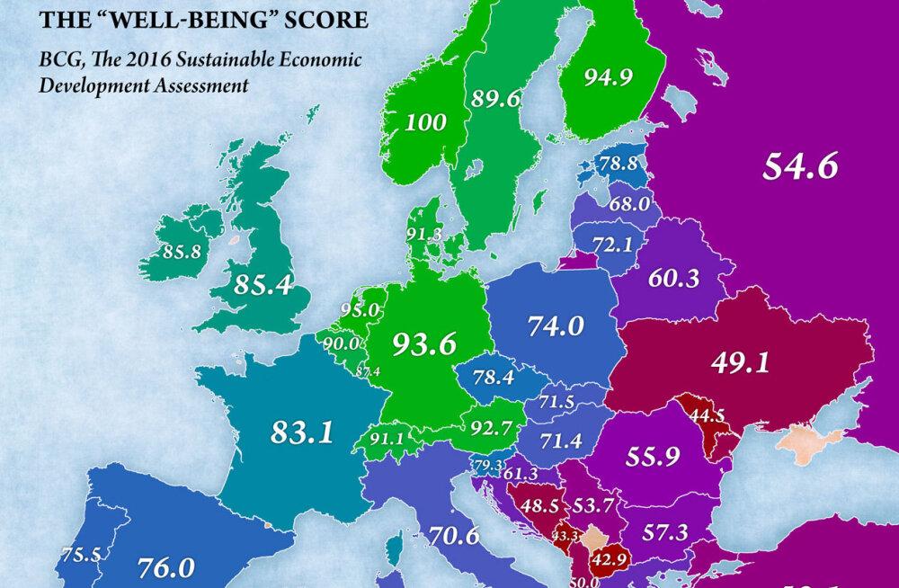Nii näeb välja Euroopa maade elanike heaolu võrdlevale kaardile kantuna