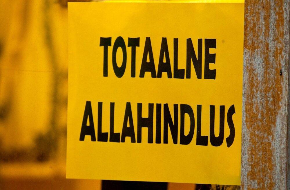 """Allahindlused Eesti moodi. Enne """"suuri"""" soodustusi hüppab tavahind lakke ja soodushind on kõrgem kui vana tavahind"""