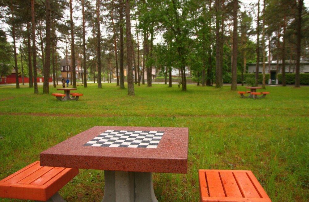 в таллинне на улице кересе установили бетонные шахматные столы Delfi
