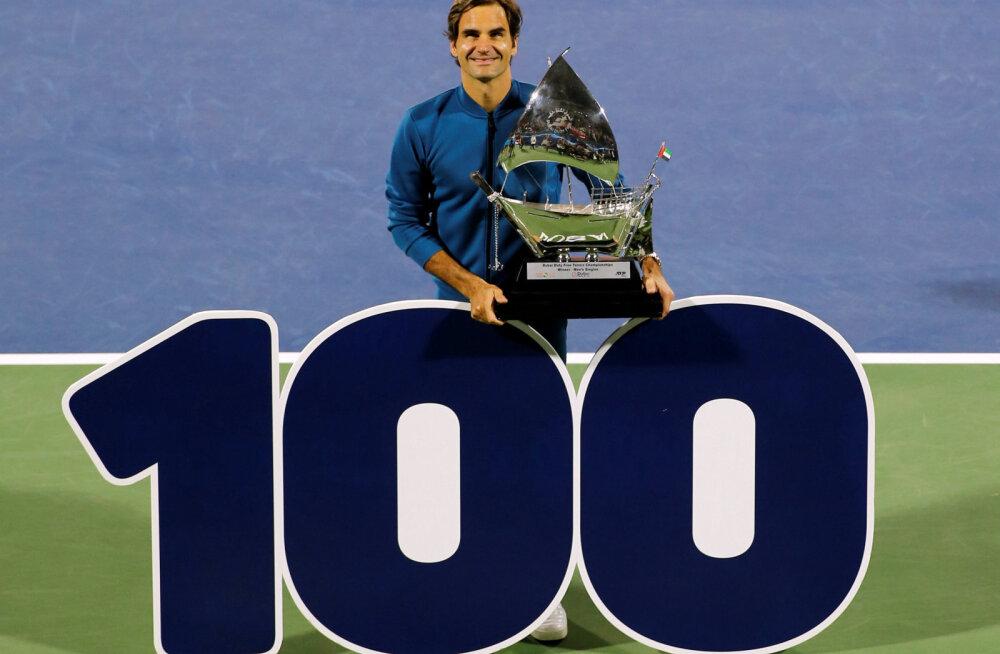 Roger Federer võitis karjääri sajanda tiitli