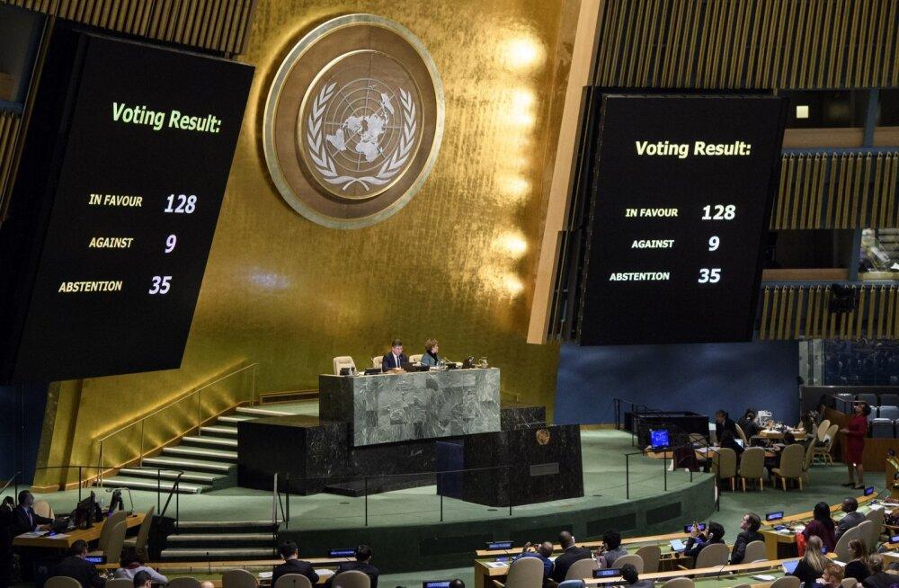 Trump sai vaatamata ähvardustele ÜRO hääletusel Jeruusalemma küsimuses rängalt lüüa