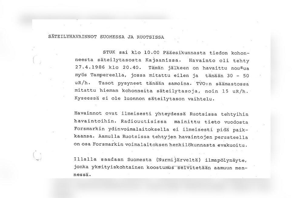 Nii teavitati Tšernobõli katastroofist Soomes, mille kaudu said infot ka paljud eestlased