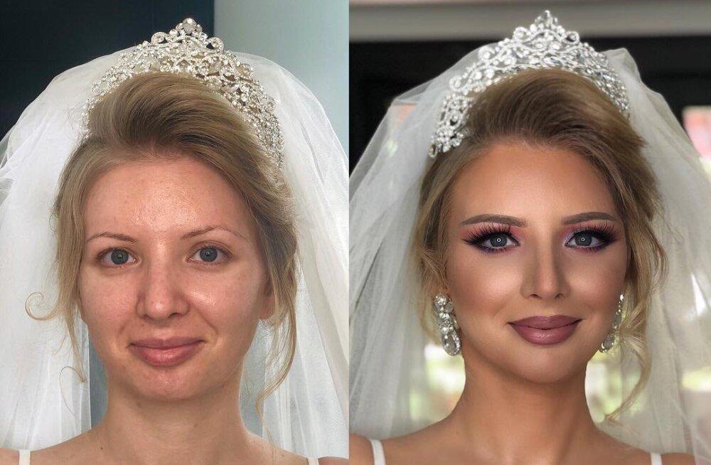 ENNE JA PÄRAST FOTOD | Imekaunid pruudid näitavad, kuidas pulmameik võib kogu naise välimust muuta