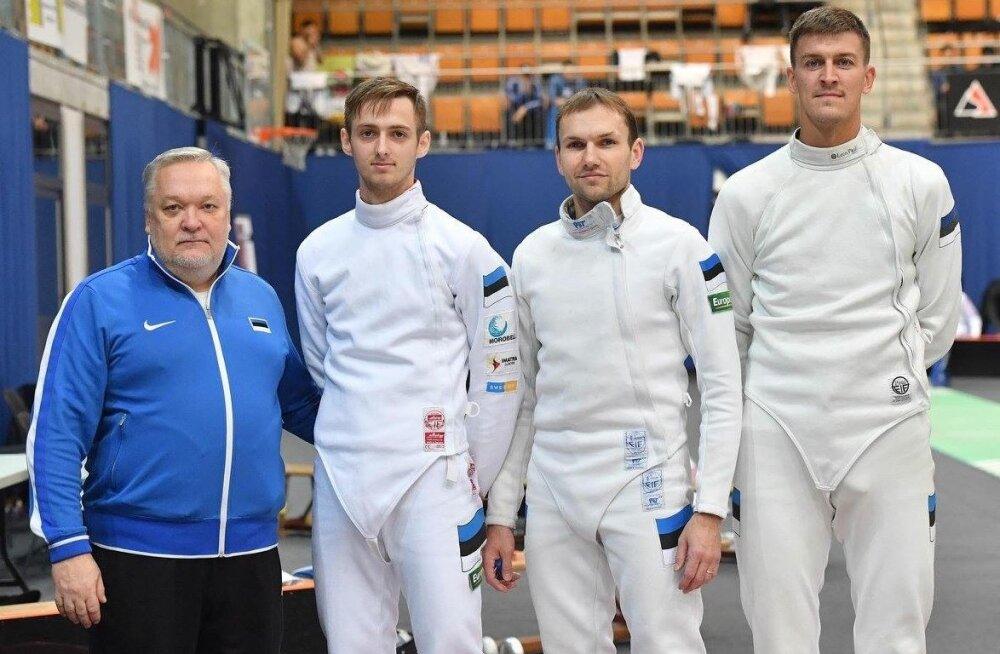Vehklemiskoondise peatreener Igor Tšikinjov (vasakult), Peeter Turnau, Jüri Salm, Sten Priinits