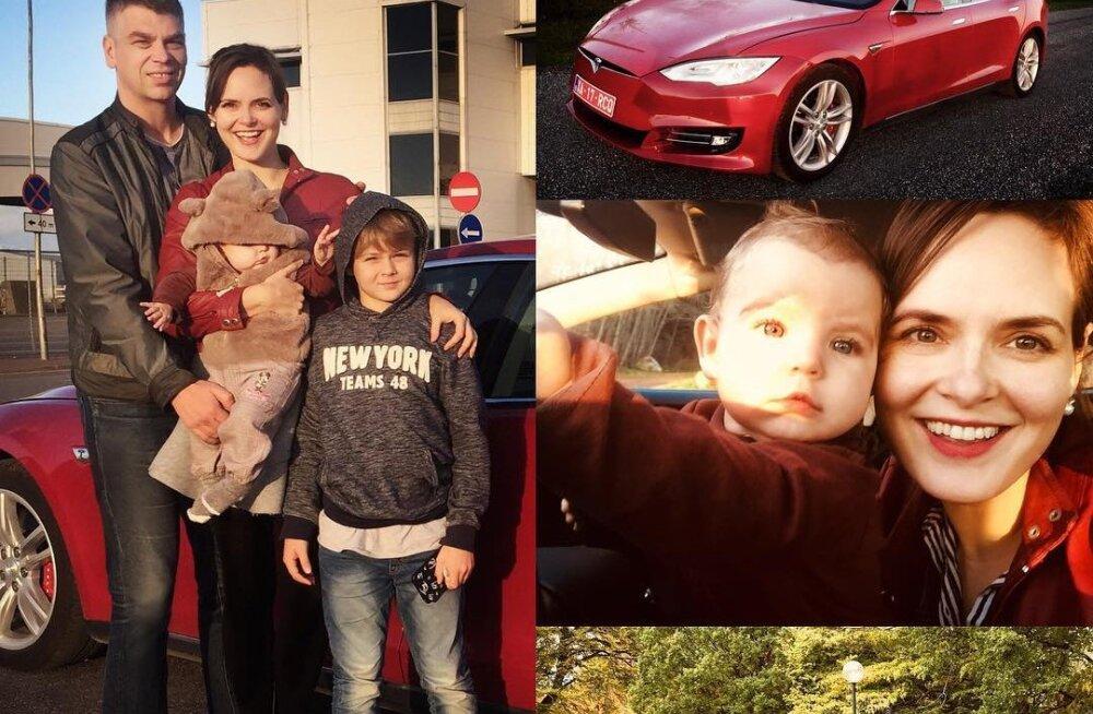 KLÕPS | Evelyn Mikomägi perekond sõidab nüüdsest tulipunase Teslaga